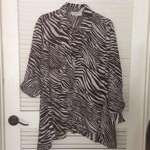 Women's Zebra striped 100% linen top sz 2X